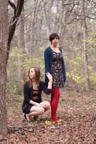 xhiliration tights - Mossimo dress - thrifted Gap cardigan