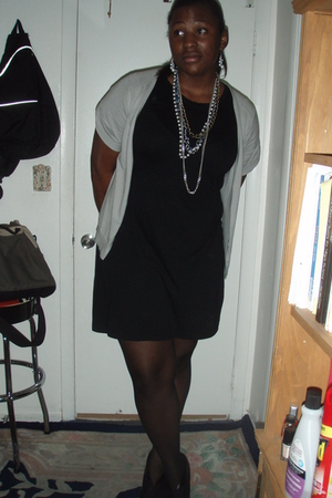 Gap sweater - Gap dress - payless shoes - Lane Bryant stockings - Claires earrin