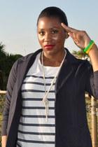 navy Liza Claiborne jacket - white liz claiborne shirt - silver Ann Taylor Loft