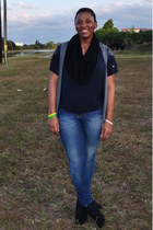 black payless boots - blue Gap jeans - black scarf - silver Jcpenny vest - blue