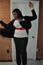 black Jcpenny jacket - ivory Jcpenny shirt - red belt - black Gap pants