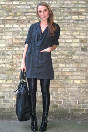 acne dress - Samse & Samse leggings - Friis & Company boots - Friis & Company pu