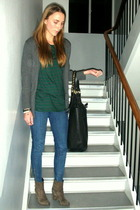 green weekday t-shirt - blue Stella McCartney jeans - gray Zara cardigan - black