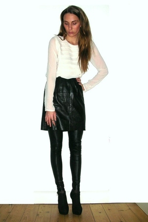 white Second Female blouse - black vintage skirt - black Samse & Samse leggings