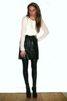 white Second Female blouse - black vintage skirt - black Samse & Samse leggings
