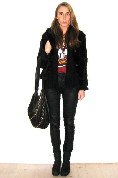 red vintage t-shirt - black Skindgalleriet jacket - black H&M pants - black piec