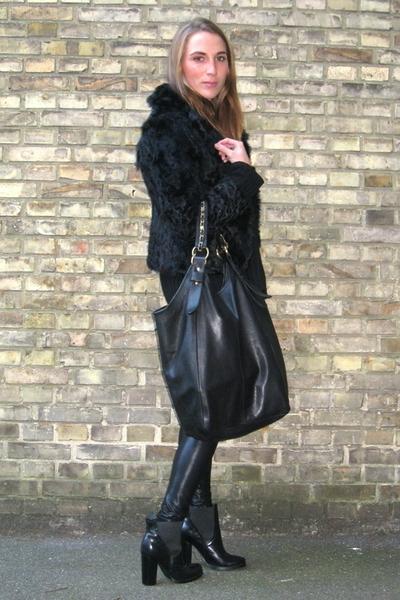 black fur vintage jacket - black Friis & Company boots
