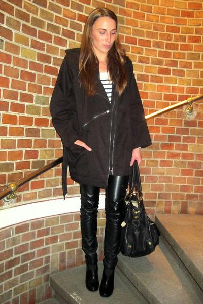 black H&M jacket - white Second Female blouse - black GINA TRICOT pants - black