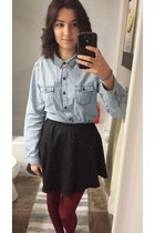black unknown brand skirt - sky blue chambray Old Navy shirt