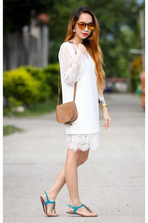 white Front Row Shop dress - burnt orange Forever 21 bag