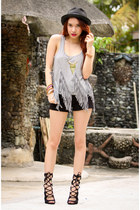 gray fringe FEMMEX top