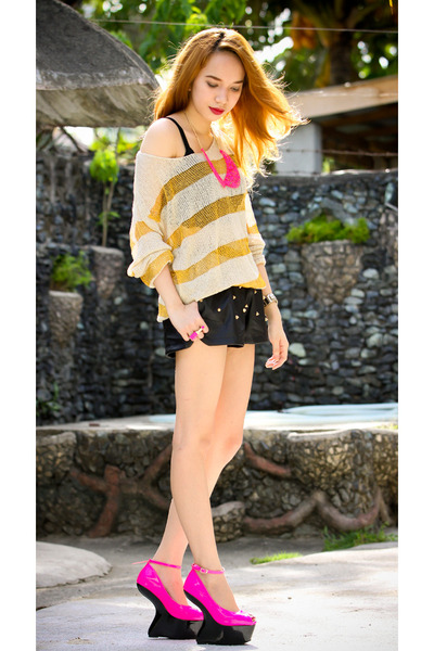 mustard stripe Choies sweater