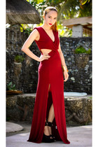 crimson maxi Love dress