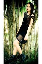 black dress - black boots