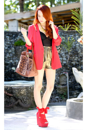 red cutout blazer