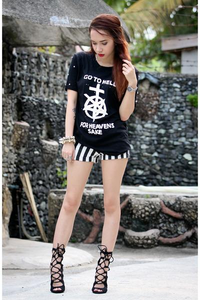 black go to hell Sammy dress shirt - black Bershka shorts