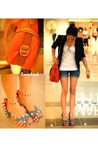 red heels - black blazer - carrot orange bag - navy shorts - white top
