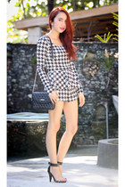 black Mango bag - black houndstooth shorts - black houndstooth top