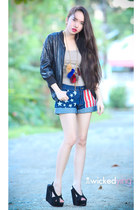 gold necklace - black jacket - navy shorts - black wedges - tan top