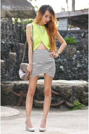 chartreuse cutout pinkaholic top - off white tulip Zara skirt