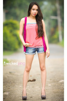 gray suede pumps - magenta sleeveless blazer - teal denim shorts