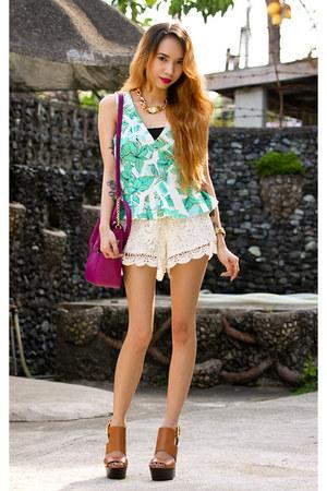 magenta sling maxenes bag - white crochet 6ks shorts - tawny Topshop wedges