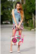 hot pink tote Maxenes bag - hot pink floral blackfive shorts