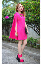 hot pink dress - hot pink wedges