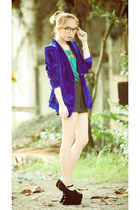 black heel less shoes - navy velvet blazer - teal metallic top