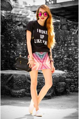 black inlovewithfashion shirt - black maxenes closet bag - pink Zara skirt
