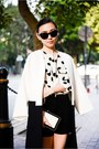 Zara-jacket-clutch-bag-chanel-bag-polka-dot-goodnight-macaroon-blouse