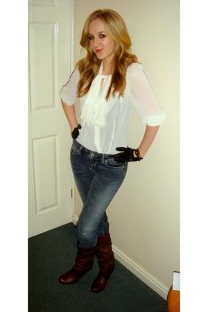 Miss Selfridge blouse - Topshop jeans - Kurt Geiger boots