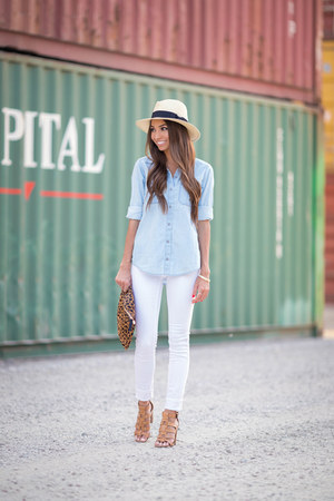 white blank nyc jeans - Target hat - light blue Express shirt - Clare Vivier bag