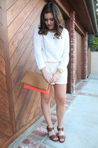 white Forever 21 sweater - salmon William B and Friends bag