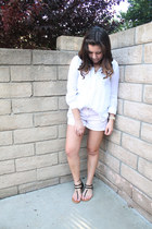 white thrifted shirt - periwinkle Macys shorts