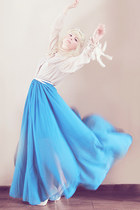 blue chiffon maxi skirt - beige H&M blouse - off white heels