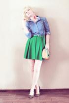 green Topshop skirt - camel leopard print thrifted shoes - camel Topshop bag