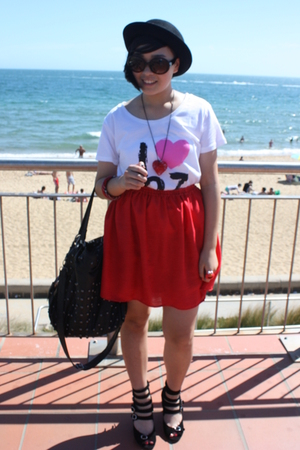 red DIY skirt - white cotton on t-shirt - black Deborah K accessories - black Da