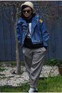 Blue-vintage-jacket-beige-dangerfield-hat-black-ebay-sunglasses