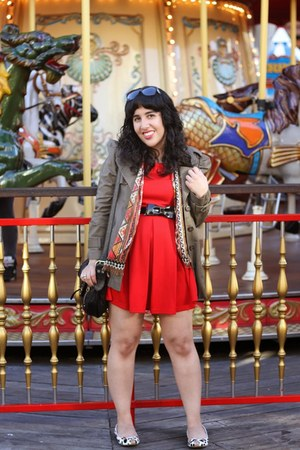 red skater Zara dress - light brown trench BB Dakota coat
