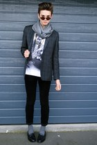 t-shirt - Dr Denim jeans - barkers blazer - Valentino scarf