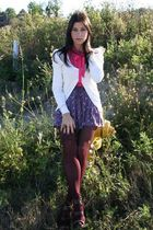 H&M blouse - Forever 21 cardigan - American Eagle skirt - Forever 21 tights - Ch