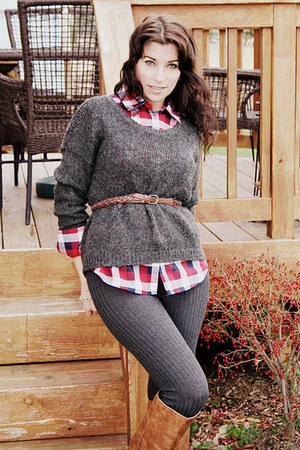 camel Forever 21 boots - slouchy H&M sweater - plaid Forever 21 shirt