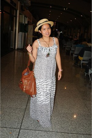silver maxi dress dress - eggshell sm accessories hat - tawny Marikai bag