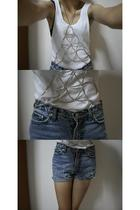Topshop vest - DIY shorts - DIY accessories