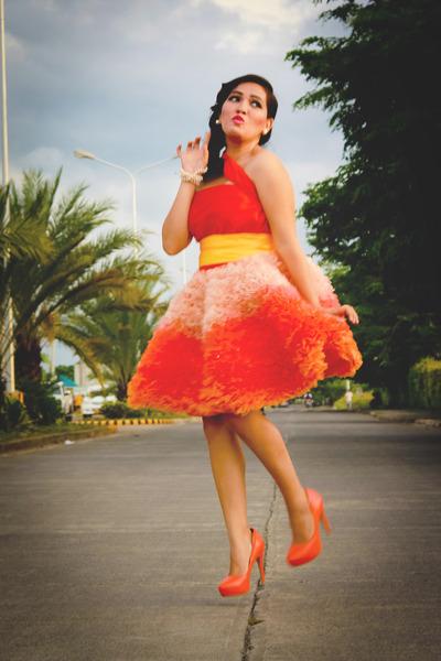 Cocktail Dress Dresses Orange Pumps Parisian Heels