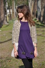 Deep-purple-babylon-dress-camel-mina-art-coat
