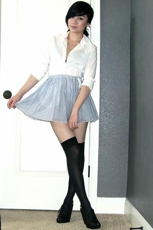 Old Navy blouse - American Eagle skirt - Betsey Johnson stockings - Nine West sh