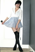 Old Navy blouse - American Eagle skirt - Betsey Johnson stockings - Nine West sh