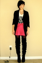 H&M blazer - calvin klein shirt - Zara shorts - Bakers boots